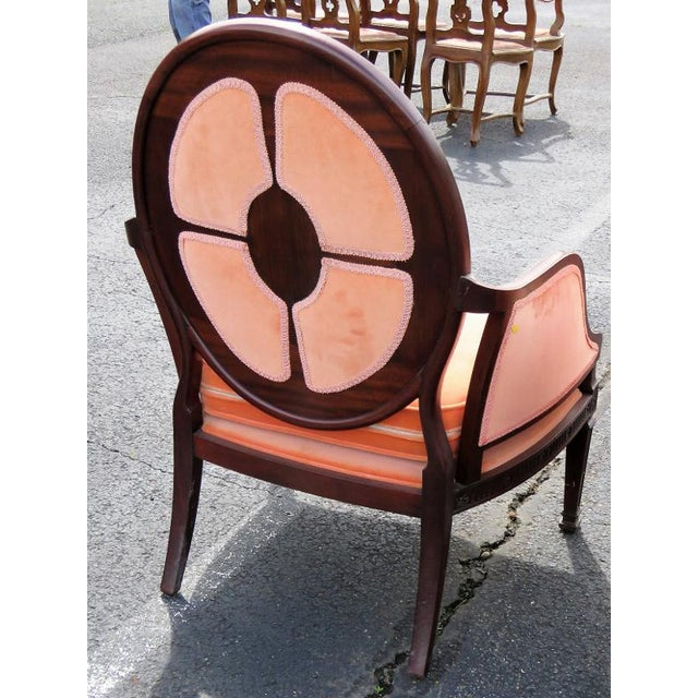 Carved walnut frames. Orange upholstery. Light wear. Small damages and repairs.