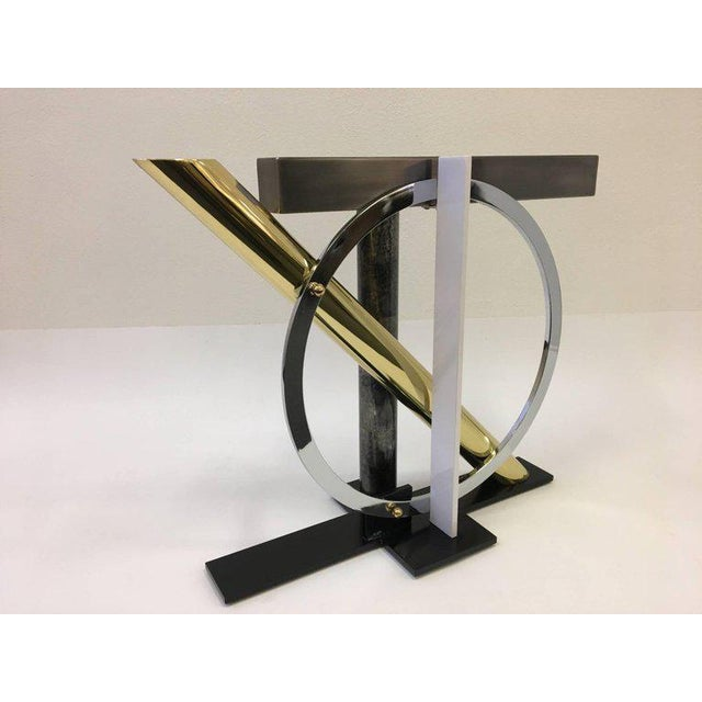 Brass Mixed Metals and Glass Console Table by Kaizo Oto for DIA For Sale - Image 7 of 9