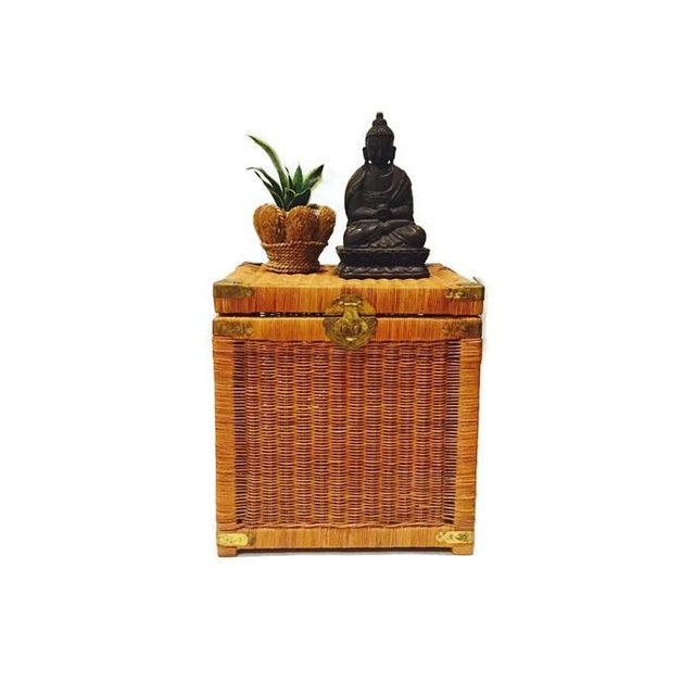 Vintage Rattan Cube End Table/Box - Image 2 of 6