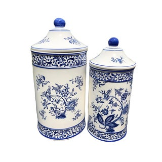 Mid Century Modern Japanese Floral Jars- A Pair For Sale