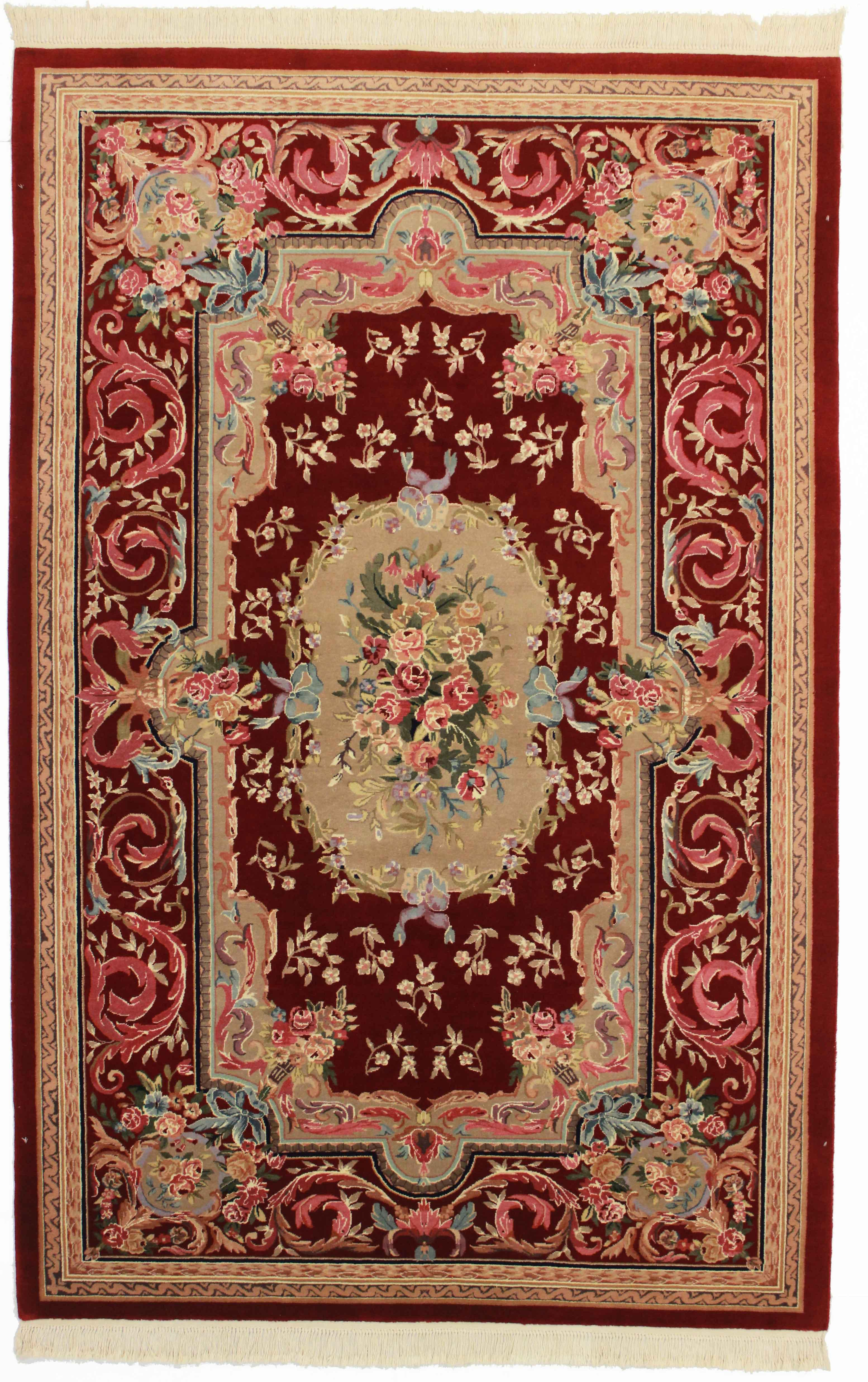 Chinese Hand Knotted Wool Rug 5 9 X 8 9 Chairish