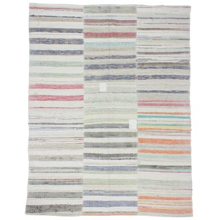 1960s Turkish One of a Kind Striped Rag Rug For Sale