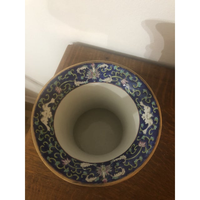 1960s 1990's Chinese Cherry Blossom Enameled Cachepot For Sale - Image 5 of 7