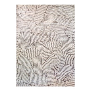 Mansour Modern Handwoven Wool Abstract Rug For Sale