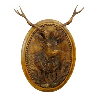 Early 20th Century Wooden Carved Black Forest Plaque With Stag For Sale