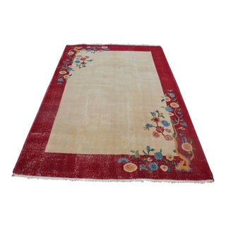 Vintage Floral Turkish Carpet - 5′4″ × 7′10″ For Sale