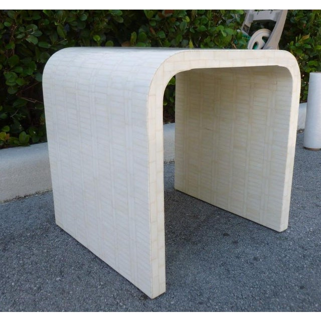 1970's Hollywood Regency Tessellated Bone Side Table For Sale - Image 4 of 9