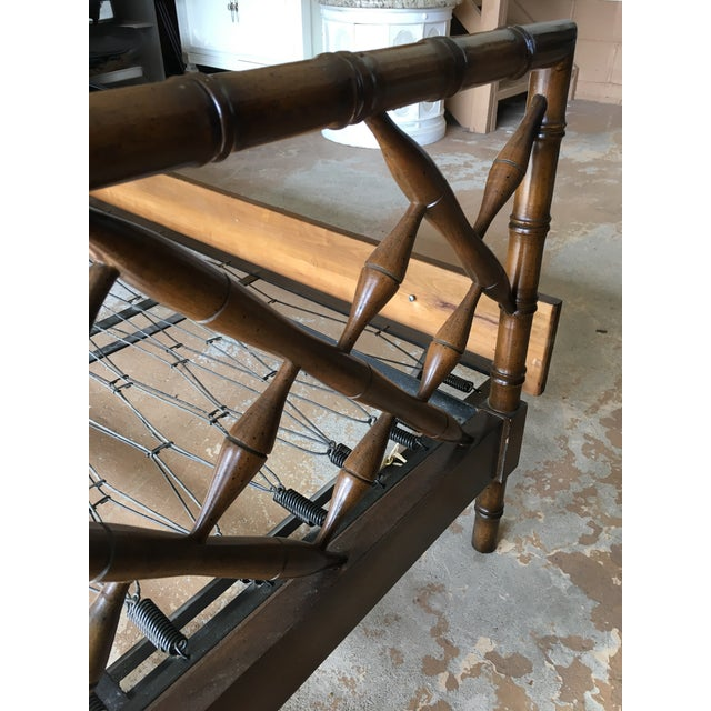1970s Boho Chic Rollout Faux Bamboo Twin Trundle Bedframe For Sale - Image 10 of 13