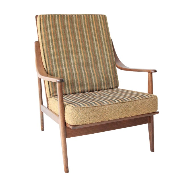Vintage Mid Century Striped High Back Lounge Chair - Image 1 of 6