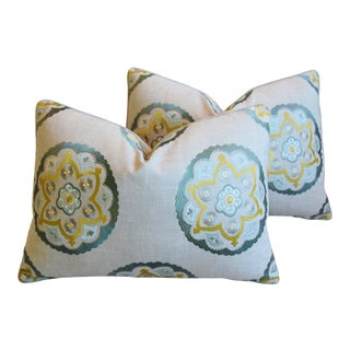 """Designer Embroidered Medallion Linen Feather/Down Pillows 22"""" X 17"""" - Pair For Sale"""