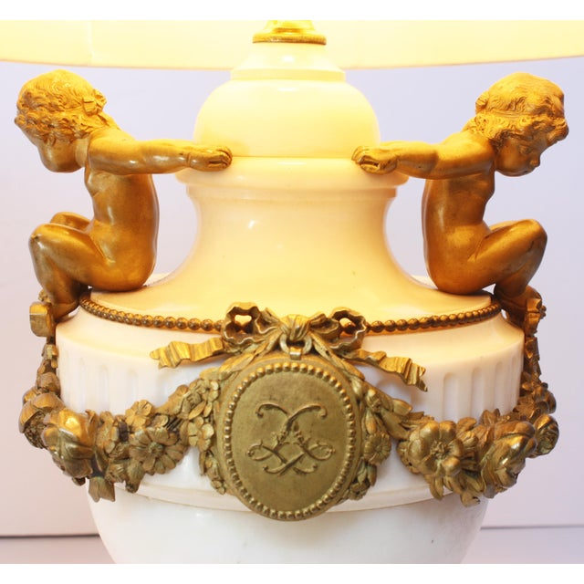 Pair of Louis XVI Style Marble and Gilt Bronze Lamps For Sale - Image 4 of 5
