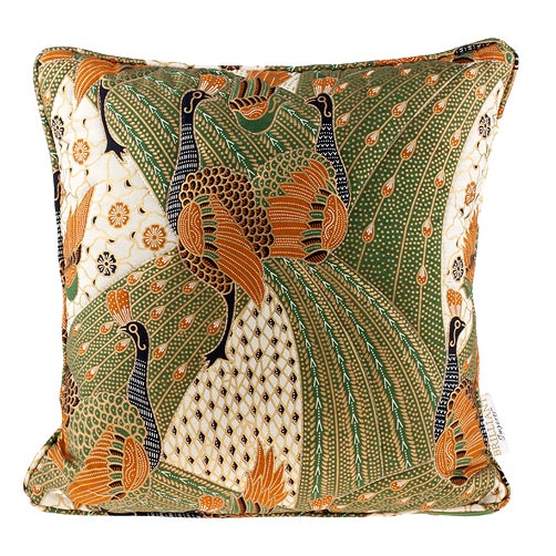 Quilted Green Peacock Batik Pillow - Image 1 of 2
