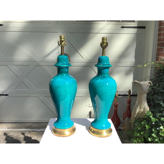Mid-Century Modern Italian Mid-Century Modern Blue Lamps, a Pair For Sale - Image 3 of 13