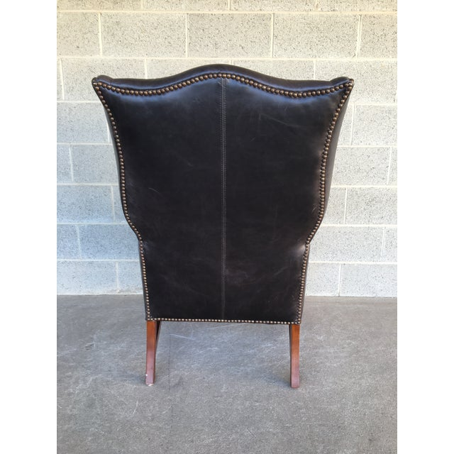 Pottery Barn Thatcher Leather Wing Back Arm Chair For Sale - Image 9 of 12