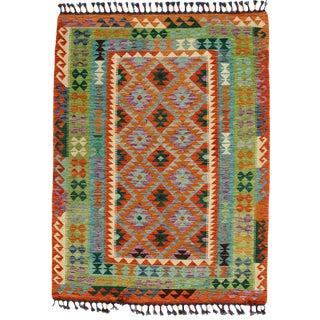 Afghan Kilim Handspun Wool Rug - 4′11″ × 6′7″ For Sale
