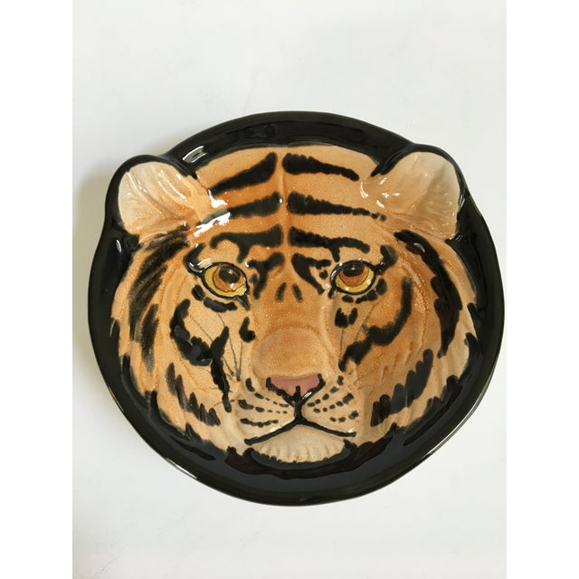 ** Please visit my shop for other mid century Italian pottery pieces. This is a mid-century, hand painted, striped tiger...