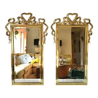 Solid Brass Bow Mirrors, Pair For Sale