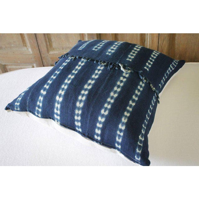 Boho Chic Antique Indigo Blue Batik Fringe Accent Pillow For Sale - Image 3 of 8