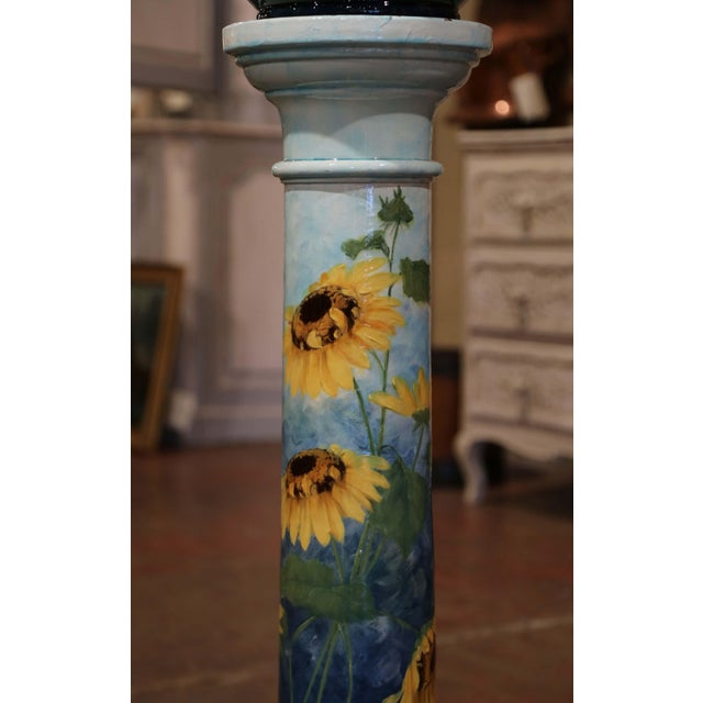 Late 19th Century 19th Century French Hand Painted Ceramic Planter and Stand Signed D. Massier For Sale - Image 5 of 13