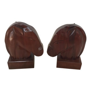 Dramatic Wood Horsehead Bookends - a Pair For Sale