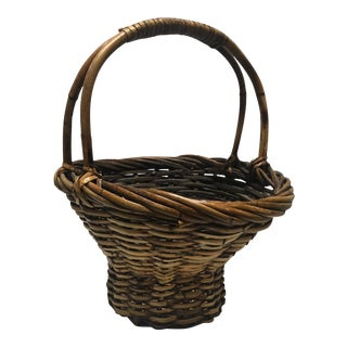 Vintage Nantucket Gathering Basket With Double Rattan Handle For Sale
