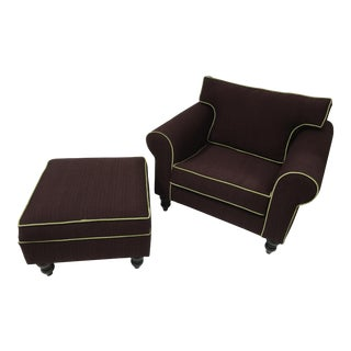 1980s Bauhaus Eggplant Upholstered Arm Chair & Ottoman - A Pair