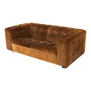 Tufted Camel Suede Vintage Two Seater on Chrome Feet For Sale