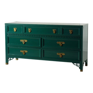 Shangri La Dresser by Dixie Lacquered Ben Moore Ocean Tropic For Sale