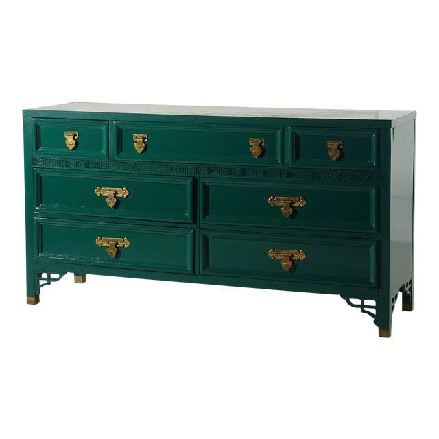 Shangri La Dresser by Dixie Lacquered Ben Moore Ocean Tropic For Sale