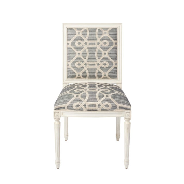 Schumacher Marie Therese Ziz Embroidery Strié Hand-Carved Beechwood Side Chair For Sale - Image 11 of 11