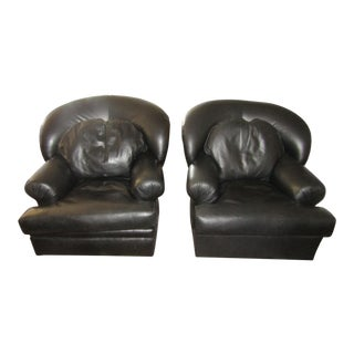 Contemporary Kreiss Leather Swivel Chairs - a Pair