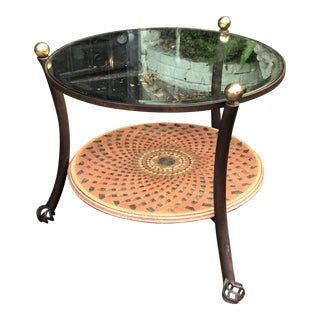 Vintage 1980's Modern Round Wrought Iron & Beveled Glass Side Table For Sale