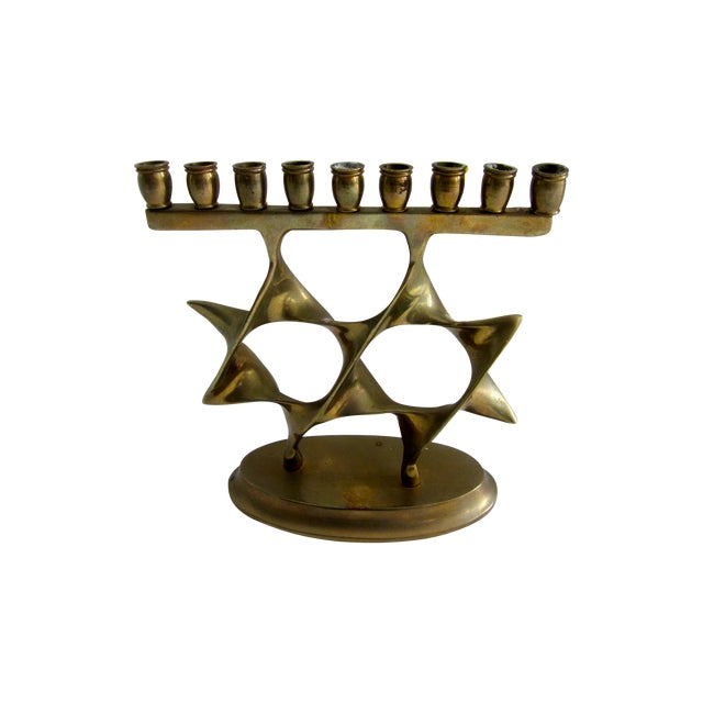Modernist Abstract Brass Menorah Candle Holder - Image 1 of 6