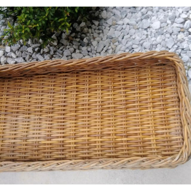 Vintage Wicker Heavy Duty Newly Custom Upholstered Hall End of Bed Bench Seat For Sale - Image 10 of 11