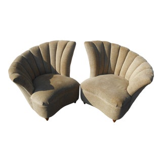 Late 20th Century Vintage Fan Back Shell Chairs- A Pair For Sale