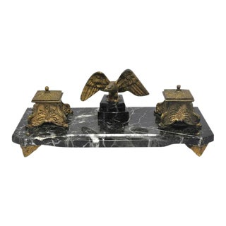 19th C. French Marble & Bronze Inkwell With Eagle For Sale