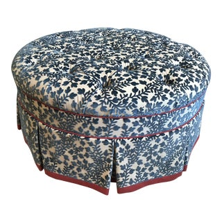 Traditional Kravet Holyoke Blue Velvet Tufted Ottoman