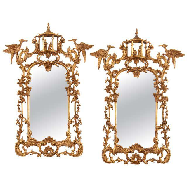 Pair of Chinese Chippendale Style Pagoda Mirrors With Ho Ho Birds For Sale - Image 13 of 13