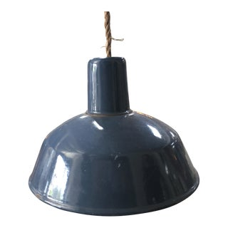 1940s Rustic Blue Metal Pendant Light