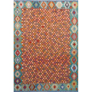 "Southwestern Handwoven All Wool Colorful Reversible Kilim - 6'10"" X 9'10"" For Sale"