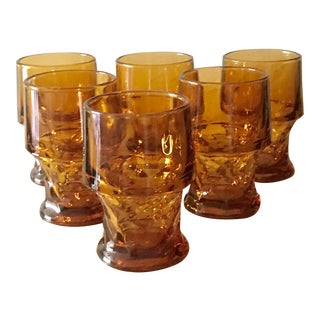 Vintage Mid-Century Modern Amber Glass Diamond Cut Stem Glasses - Set of 6