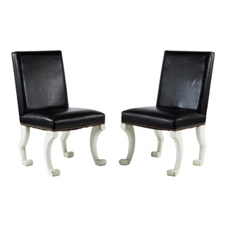 Leather Paw-Foot Chairs- A Pair For Sale