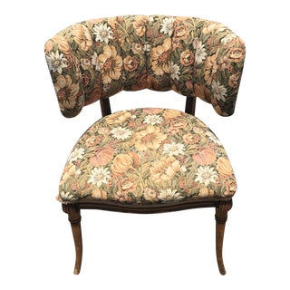 Victorian Floral Upholstered Walnut Side Chair
