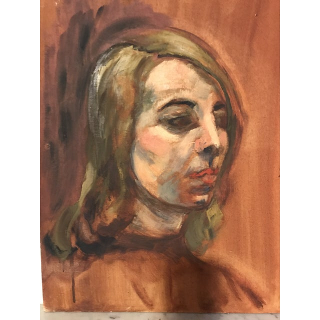 Mid-Century Woman Oil Portrait Painting For Sale - Image 4 of 4