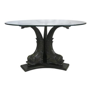 Large Scale Patinated Bronze Venetian Dolphin Dining Table For Sale