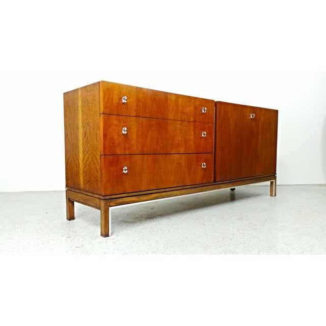 American of Martinsville Mid-Century Walnut & Chrome Dresser - Image 9 of 10