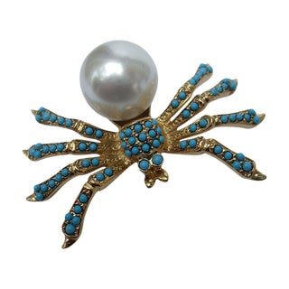 Kenneth Lane Jeweled Spider Brooch C 1990s For Sale