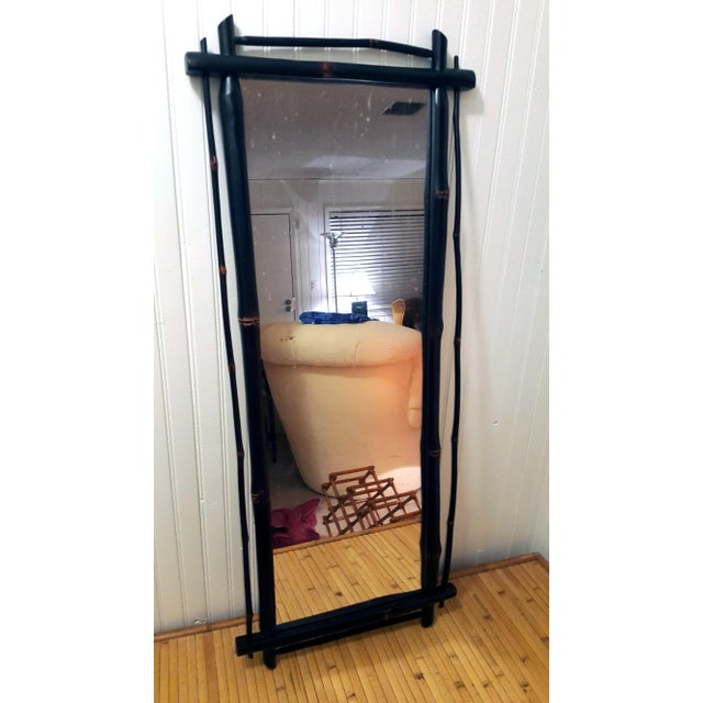 1980s Rustic Ebonized Bamboo Pier Mirror For Sale - Image 4 of 8