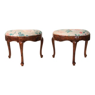 Louis XV-style Demilune 3-Legged Bench, Pair For Sale