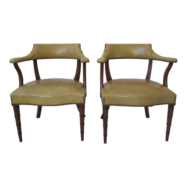 Vintage Butterscotch Leather Armchairs - A Pair - Image 1 of 11